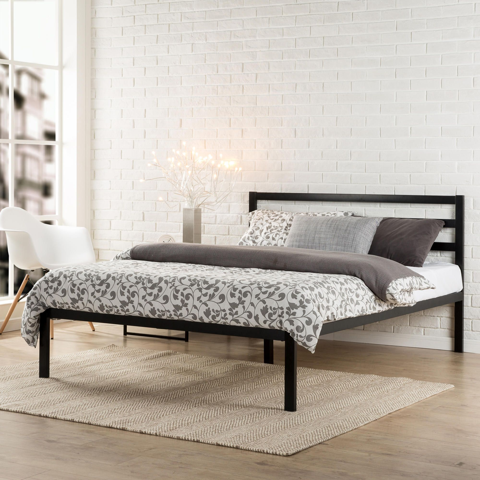 Modern Studio Platform 1500h Metal Bed Frame Mattress Foundation With Headboard No Boxspring Needed Woo Bed Frame Mattress Metal Platform Bed Metal Bed Frame