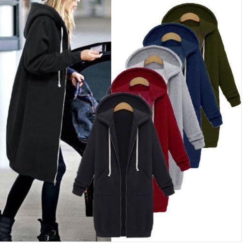 4b258d25ab9de US Winter Women Plus Size Long Sleeve Hooded Lady Cardigan Zip Up Jacket  Coat TR  fashion  clothing  shoes  accessories  womensclothing   coatsjacketsvests ...