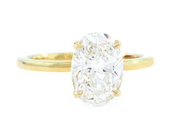 Our Signature Oval Diamond Aura Ring Set In 18 Karat Yellow Gold Center Carat Weight Color G Clarity Gia Cer
