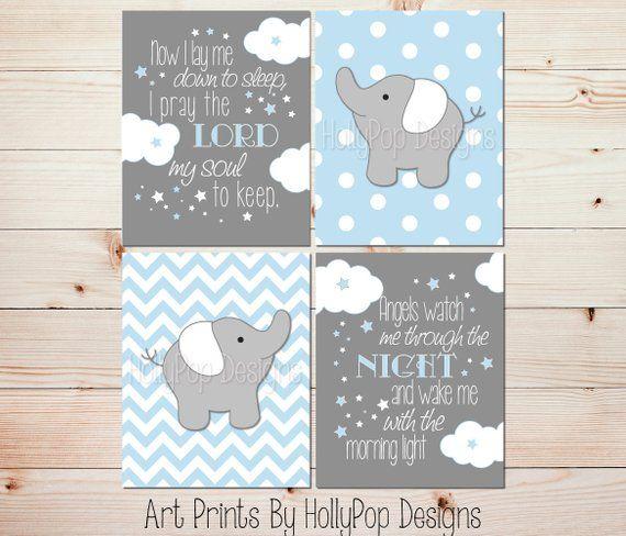 Nursery Wall Art Elephant Decor Baby Boy Blue Gray Kids Room Please