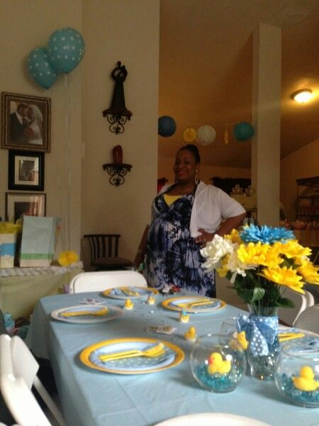 Yellow, blue and white polka dots duck themed baby shower