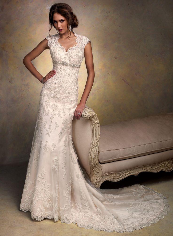 Sheath Column V Neck Court Train Organza Wedding Dresses Keyhole Back Liques Beaded Belt Sash Dress