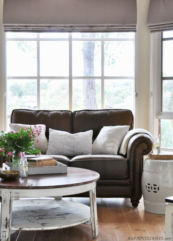 Brown Couch Blue Wall Brown Leather Couch Living Room Dark