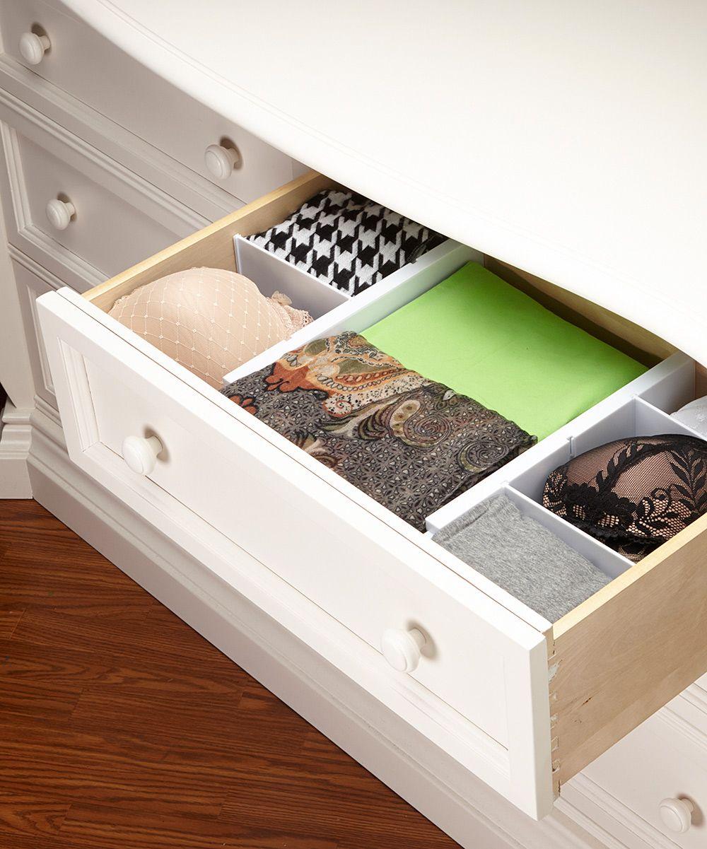 White expandable fivepiece dresser drawer divider set organize me