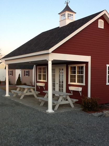 like this color scheme - black roof, red barn with white ...