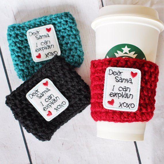 Dear Santa Coffee Cozy ~ Crochet Coffee Cozy ~ Coffee Cozie #affiliate