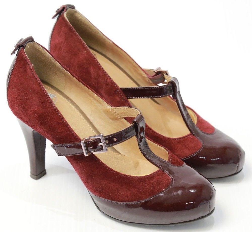 8d4e12242cfe1 Women's Nurture Mare Jane T Strap High Heels Maroon 6 M #Nurture ...