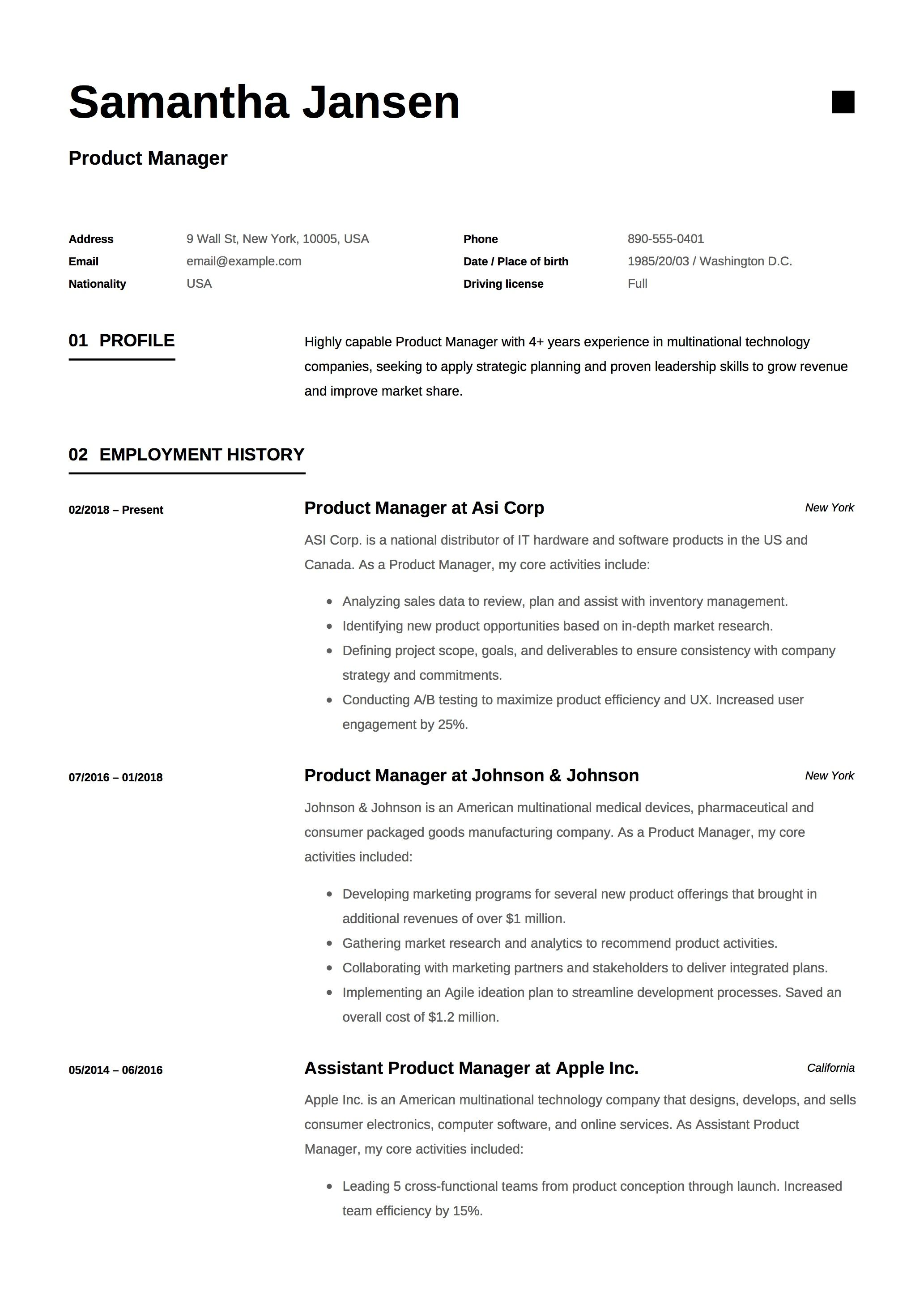 Product Manager Resume Sample Template Example Cv