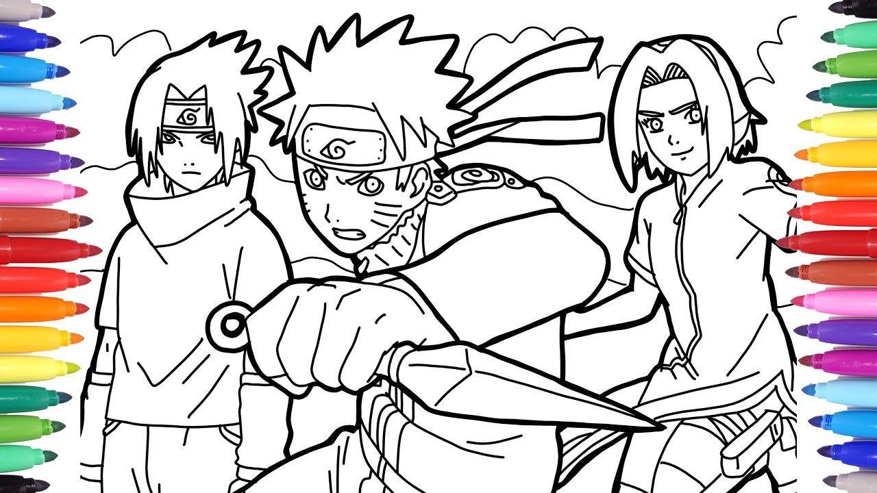 5 coloring pages with Naruto and Sasuke em 2020 Naruto e