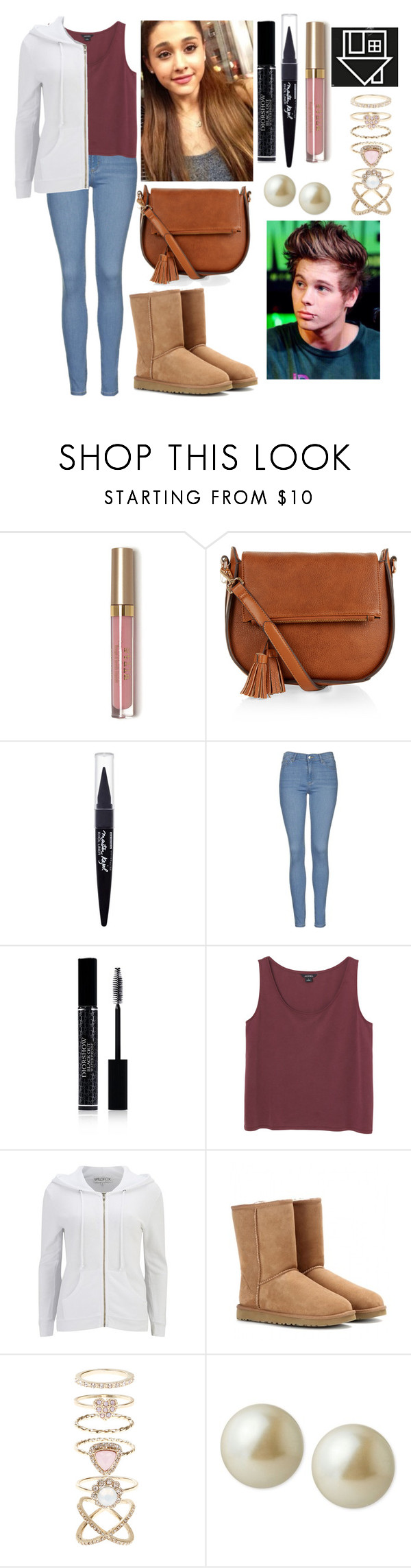 """""""Trying to keep it all together"""" by hannahcrookes ❤ liked on Polyvore featuring Monsoon, Maybelline, Topshop, Christian Dior, Monki, Wildfox, UGG Australia, Accessorize, Carolee and women's clothing"""