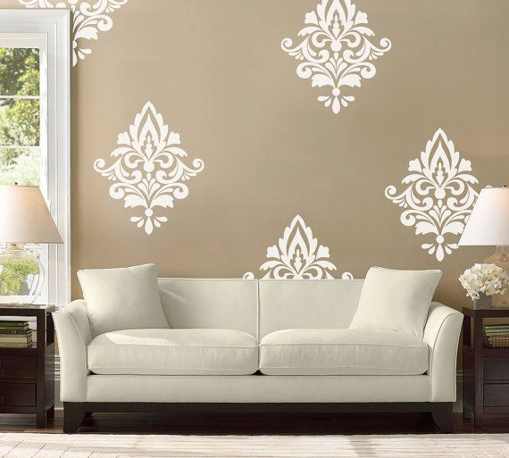 Big Damask Wall Decal Home Decor Damask Pattern Living Room Etsy In 2021 Living Room Decals Damask Wall Decals Home Decor