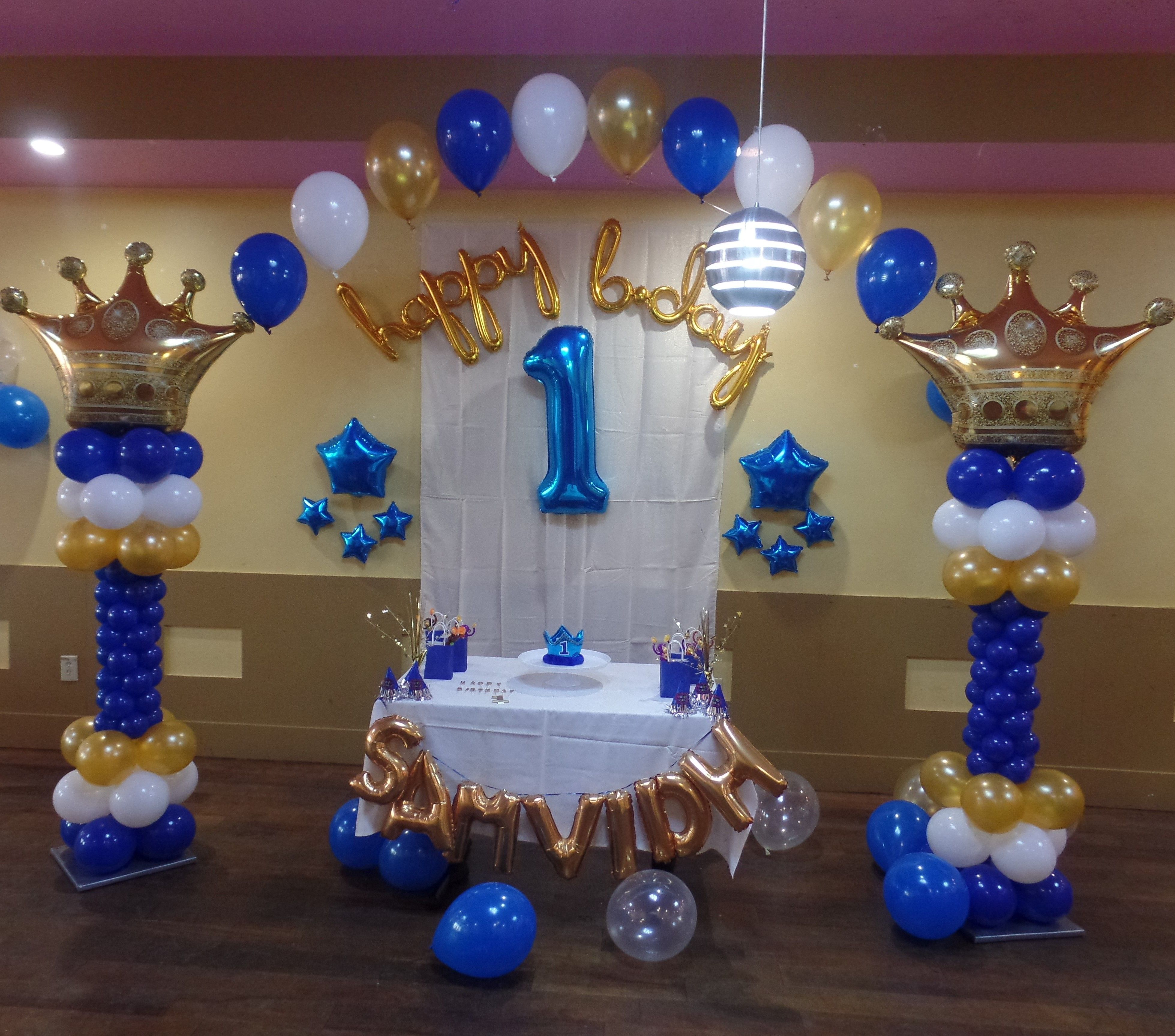 Prince Theme First Birthday Balloon Decoration Including Crown Co