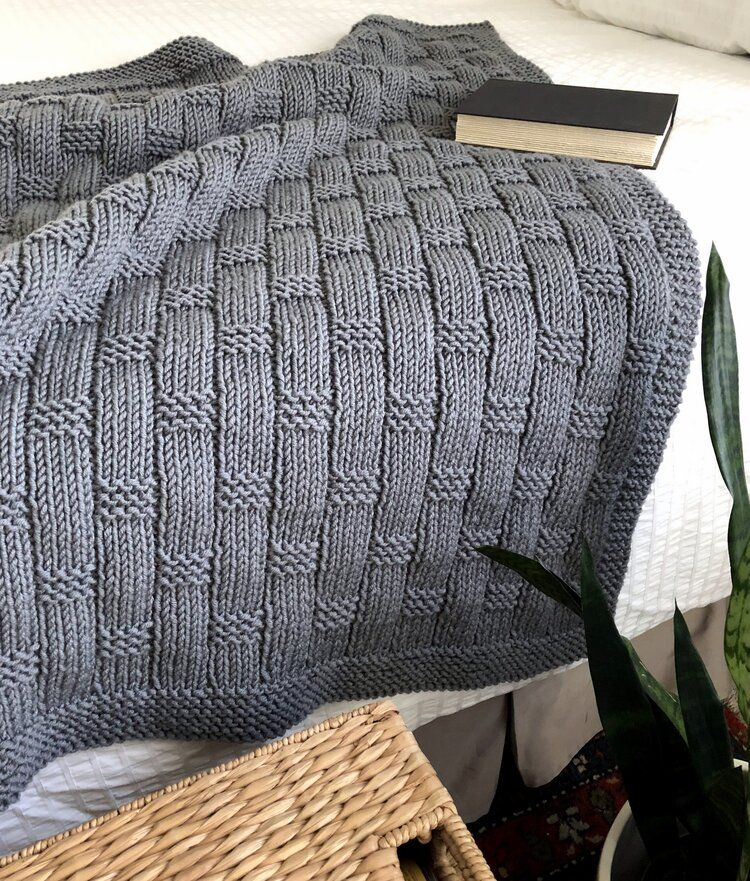 Blanket with Basket Weave Texture Knitting Pattern ...