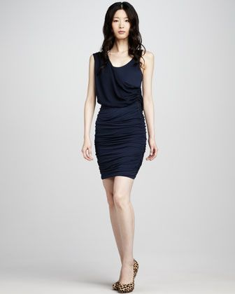Navy is the new neutral for fall (according to Neiman Marcus) -- Alice + Olivia Draped Fitted Dress - Neiman Marcus