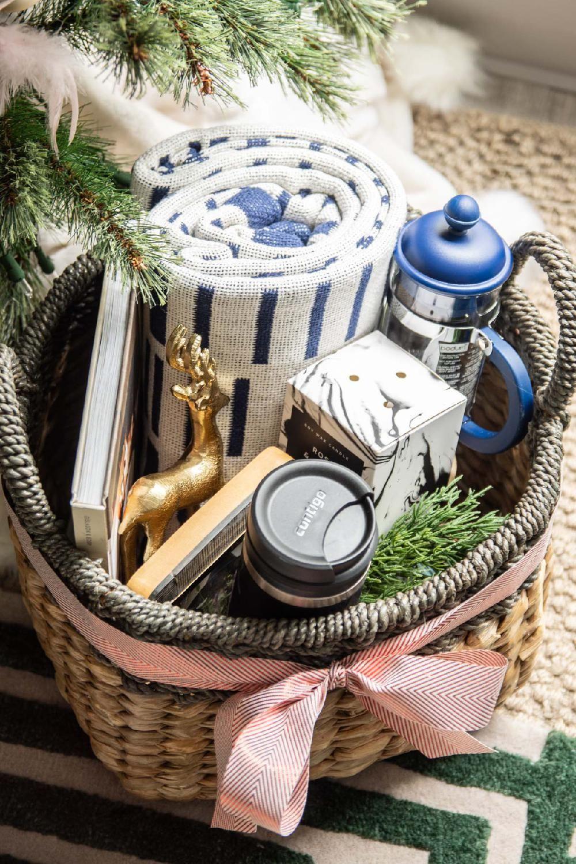 A hygge holiday gift basket with contigo holiday gift