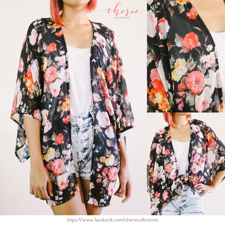Black Floral Chiffon Kimono Cardigan (Handmade Robe/Jacket/Cover ...