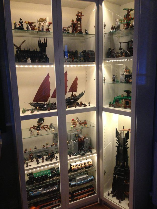 My Lego Cabinet Built Using Ikea Parts In 2020 Lego Display Lego Display Shelf Lego Display