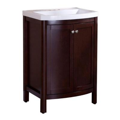 Home Decorators Collection Madeline 24 In. W Bath Vanity In Chestnut With  Composite Vanity Top In White MD24P2COM CN   The Home Depot