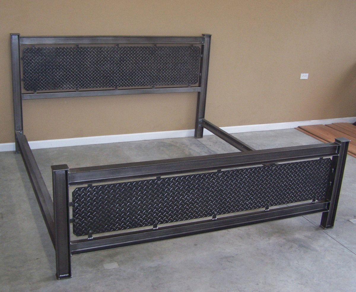 Industrial steel structural I beam bed frame diamondplate headboard ...