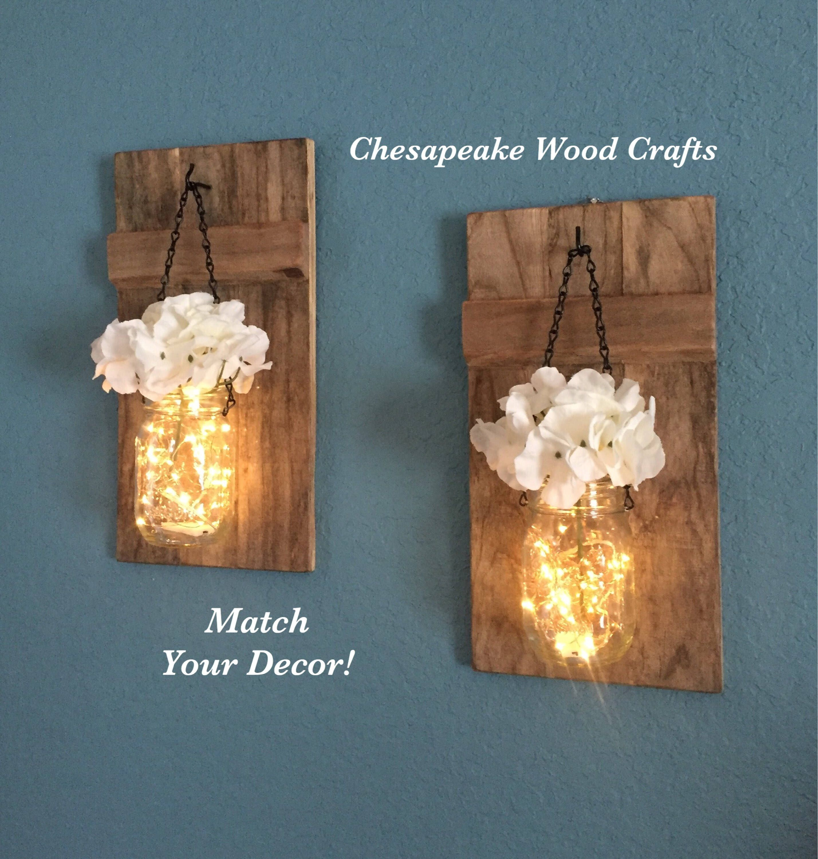 Wedding decoration ideas for home  Rustic sconces set of  Candle holders Wedding Decor Sconces