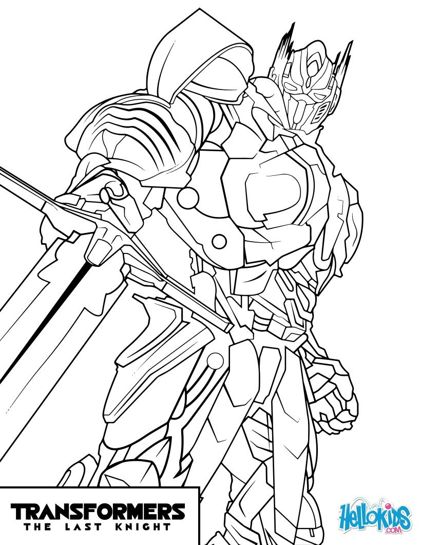 Transformers Optimus Prime coloring page from the new