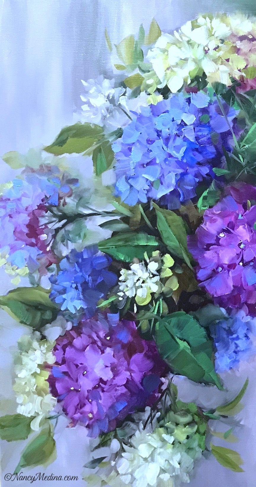 Purple Cascade Hydrangeas Detail 20x20 Oil Www Nancymedina Com