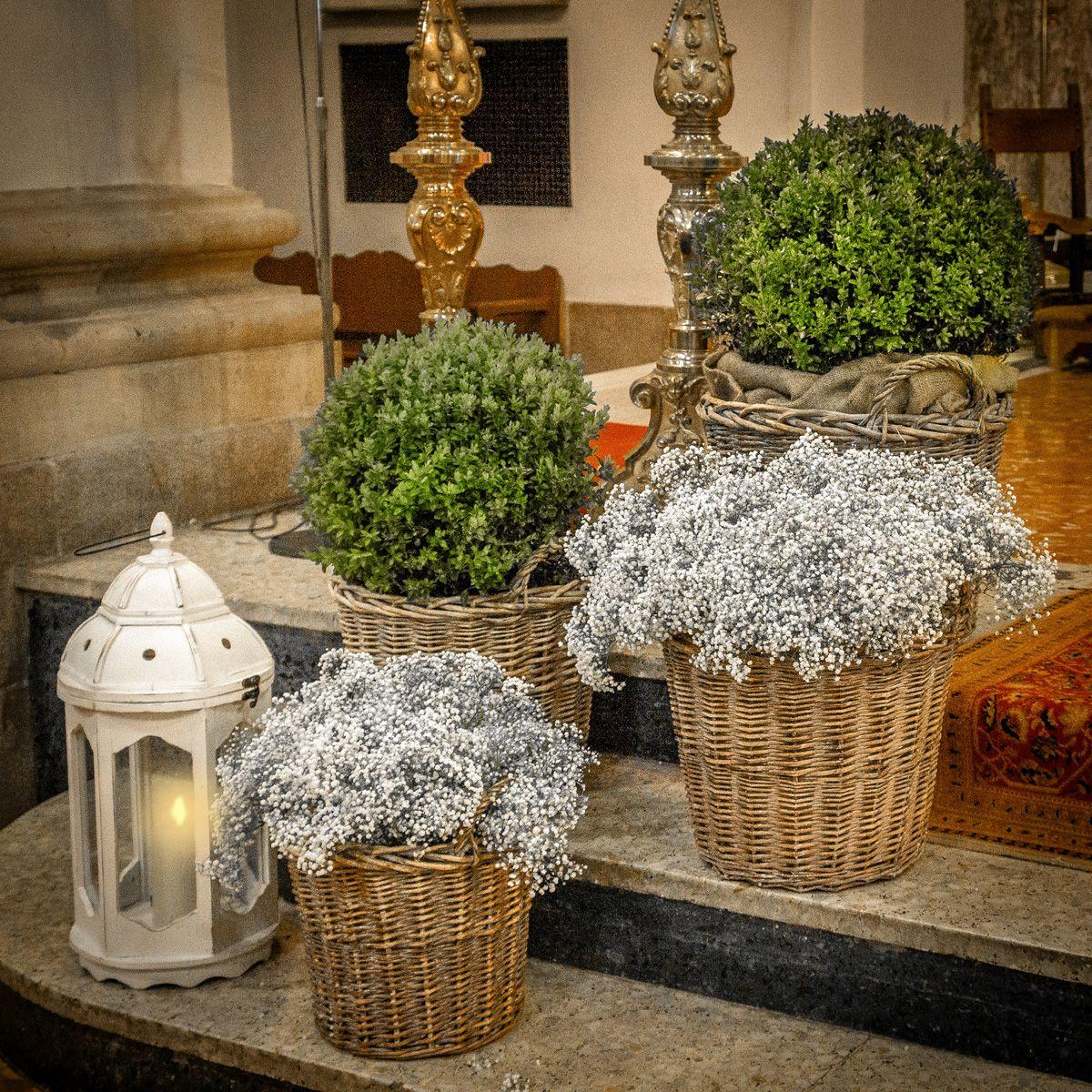Boj paniculata y velas decoraci n ceremonia ramos for Decoracion boda exterior