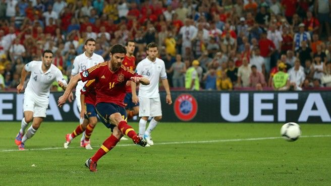 Xabi Alonso fires his added-time penalty at goal as Spain look to seal a semi-final against Portugal