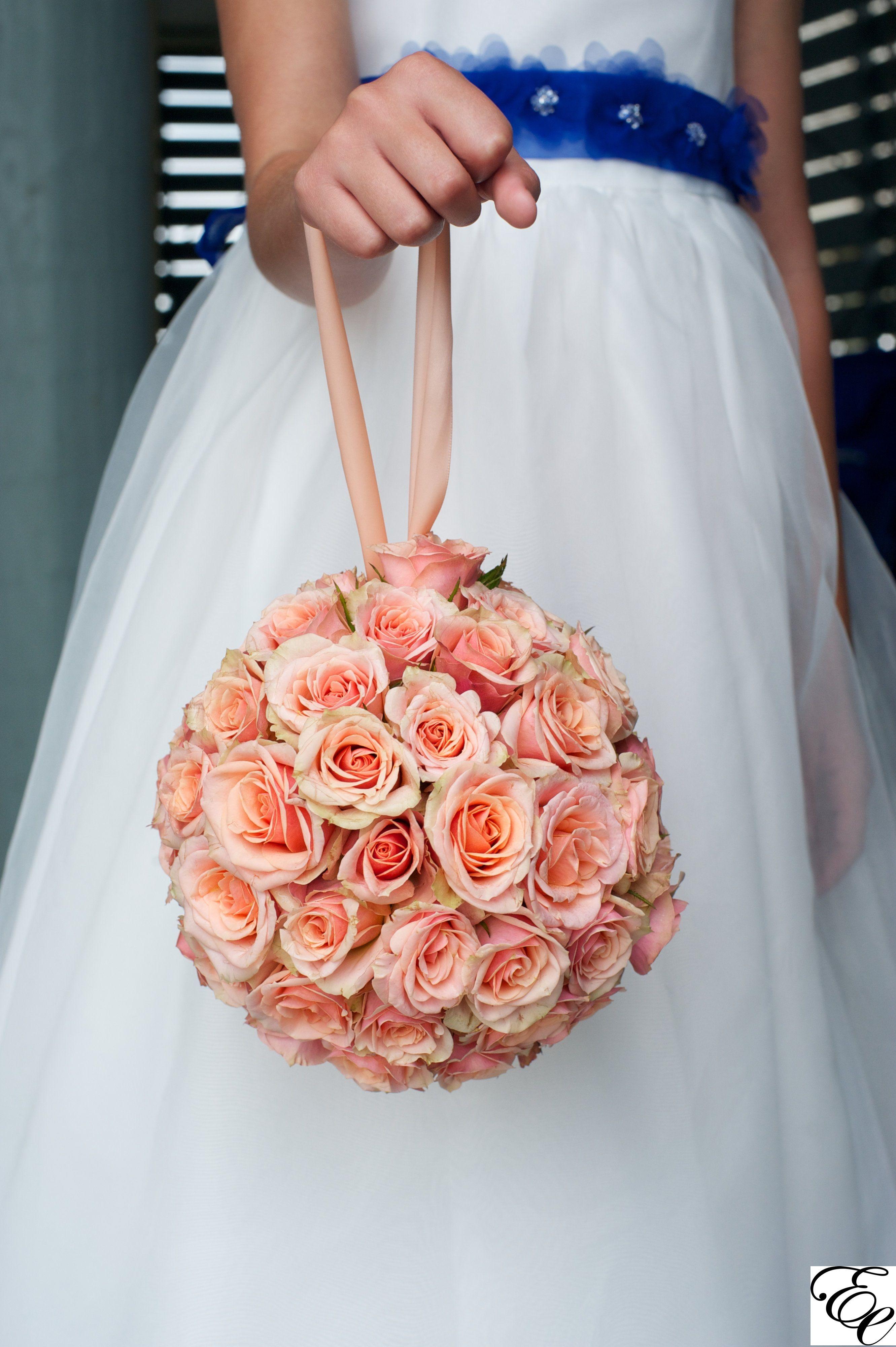 Pomander Balls Peach Spray Roses Flower Girl Kissing Ball