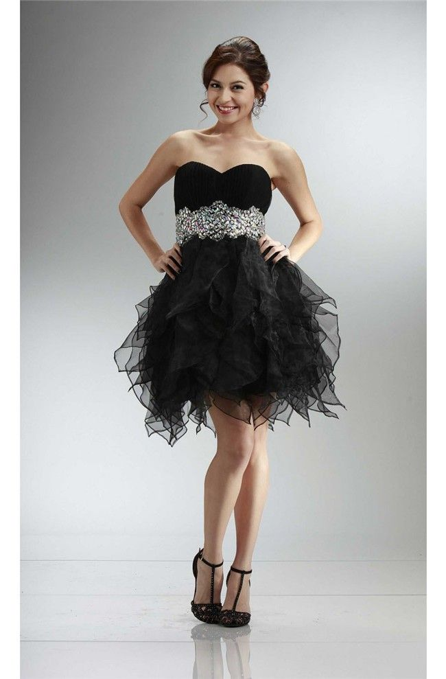 Ball Strapless Sweetheart Short Black Organza Ruffle Beaded Prom