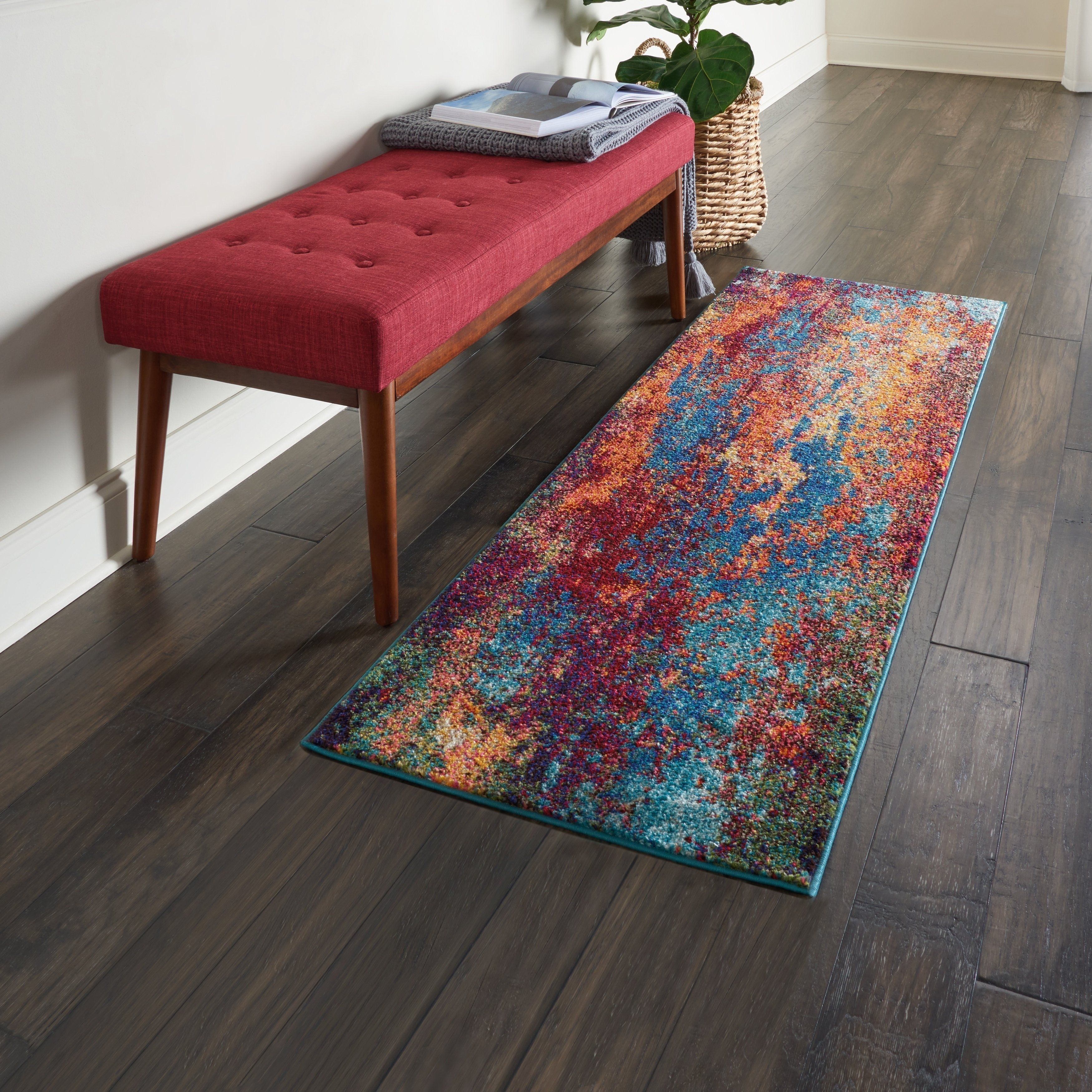 Nourison Celestial Atlantic Blue And Red Abstract Area Rug 2 2