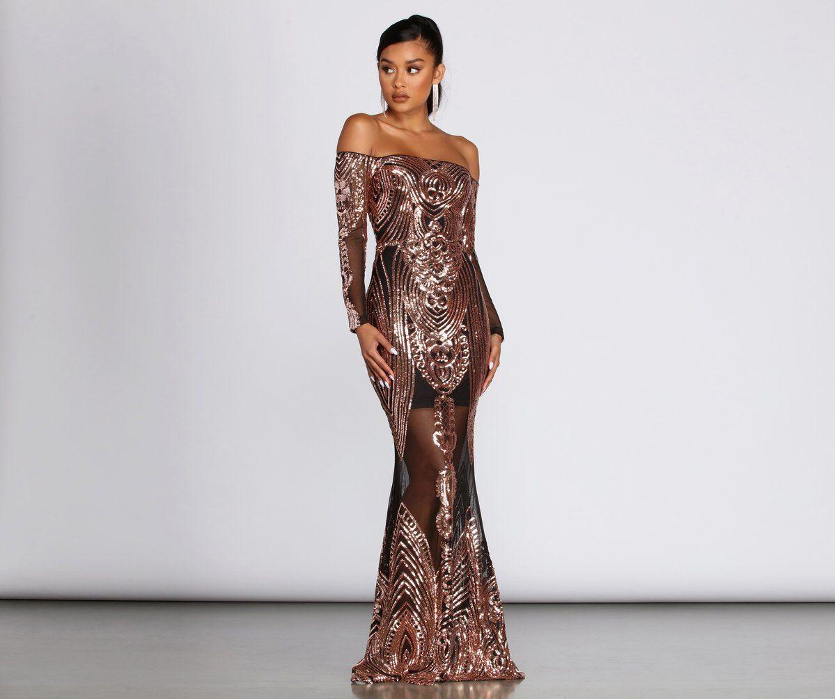 Leona Formal Long Sleeve Sequin Dress Long Sleeve Sequin Formal Dresses Long Long Sleeve Dress [ 1005 x 1199 Pixel ]