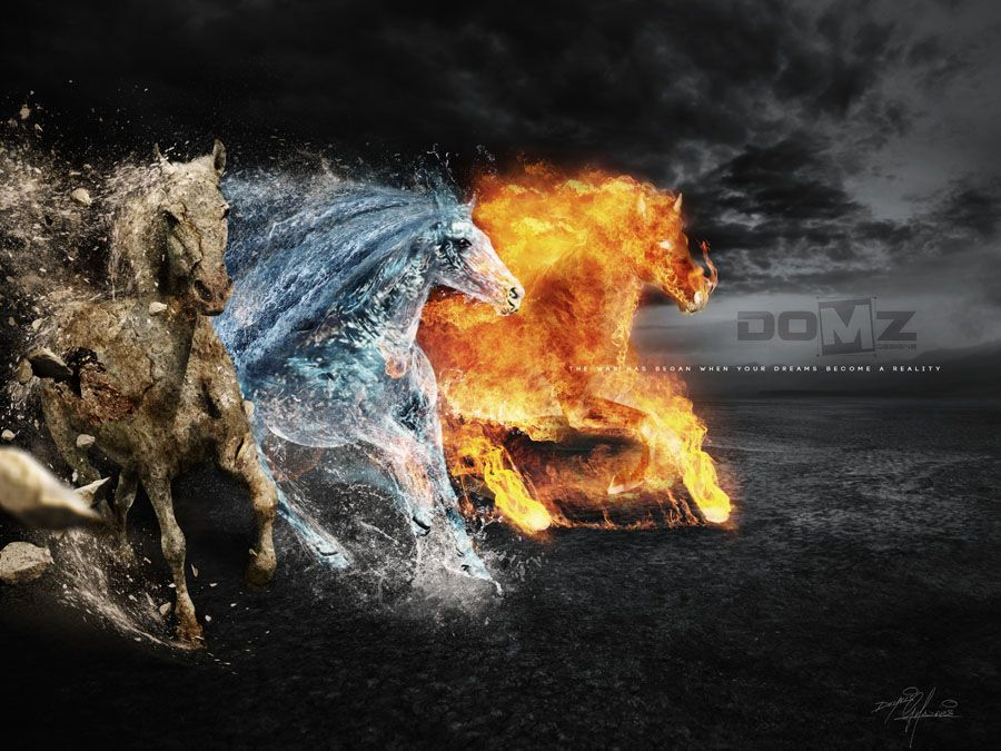 Wallpapers Dark Fire Horses Digital Art Artwork Free 1920x1080 ...