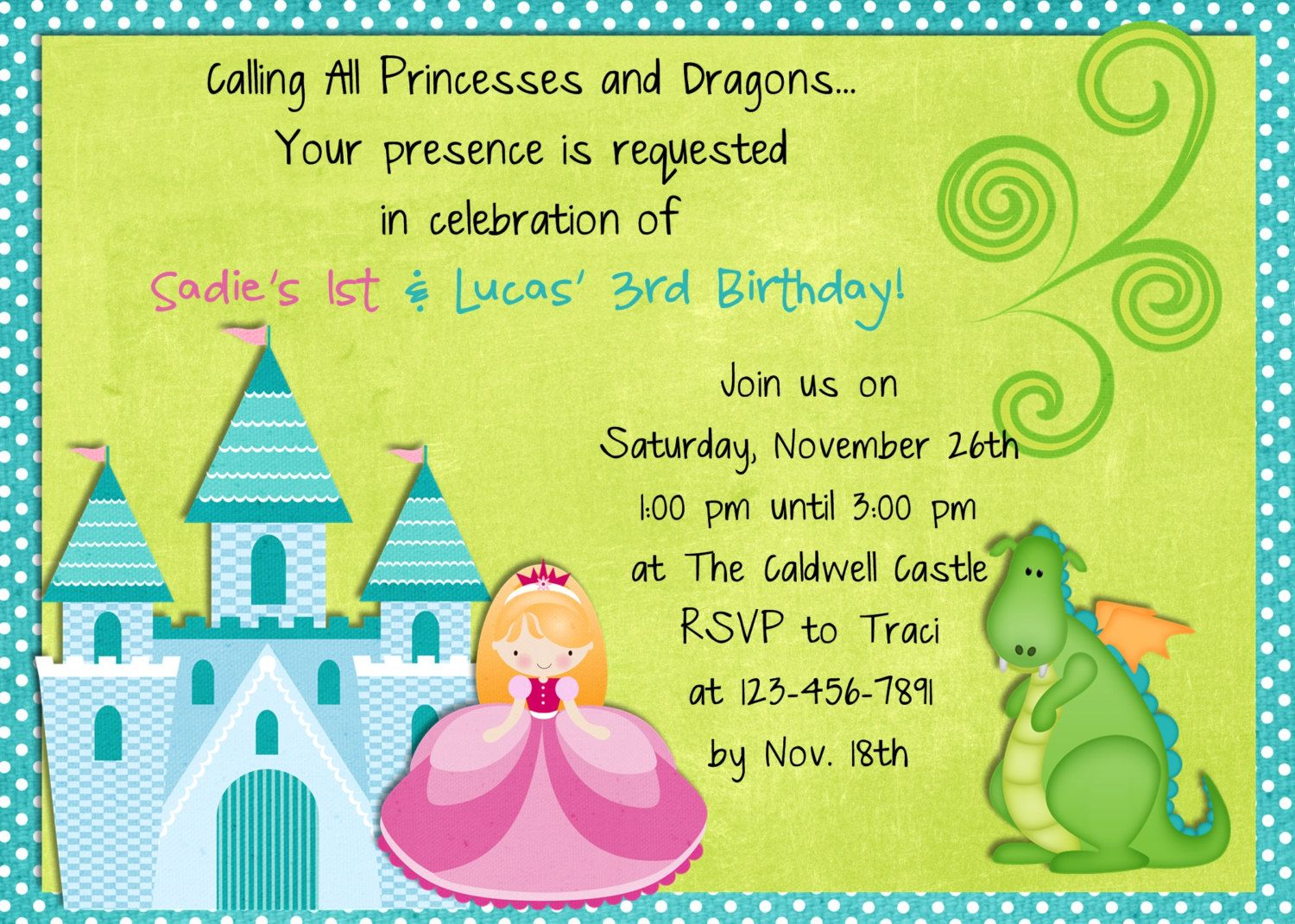 Princess dragon birthday invitation custom you print or email princess dragon birthday invitation custom you print or email 1600 via etsy stopboris