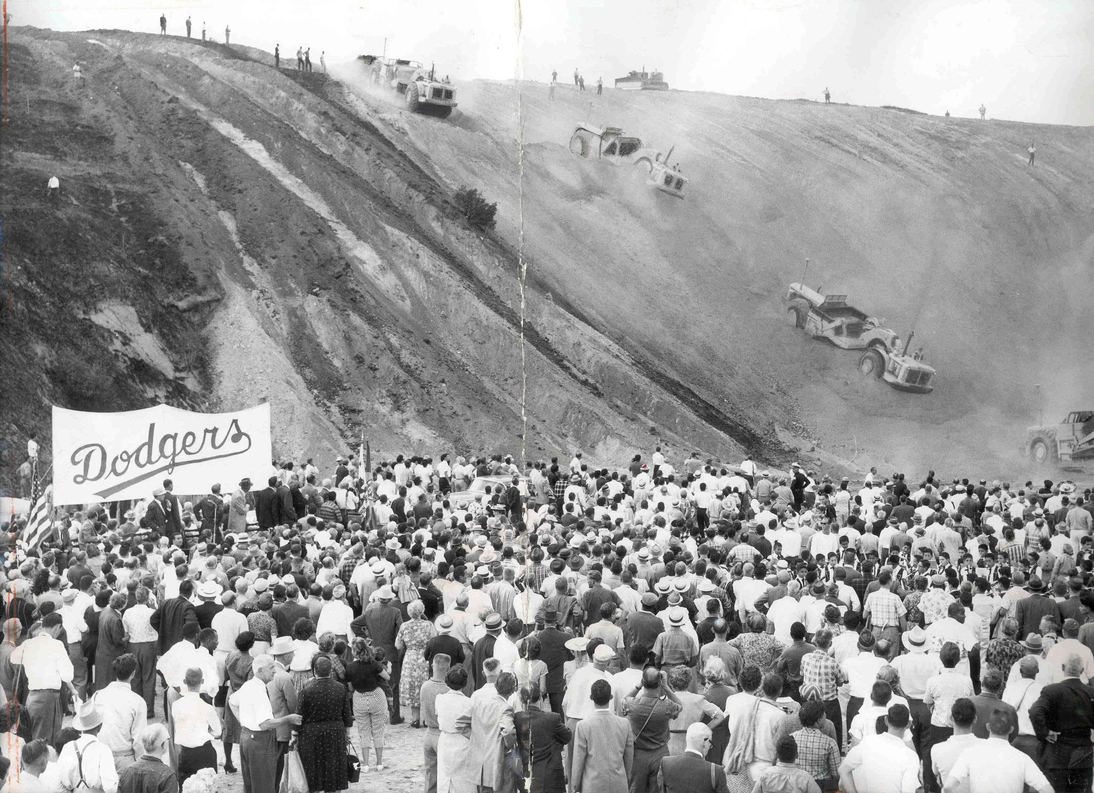 Los Angeles Dodger Stadium Groundbreaking at Chavez Ravine 1960