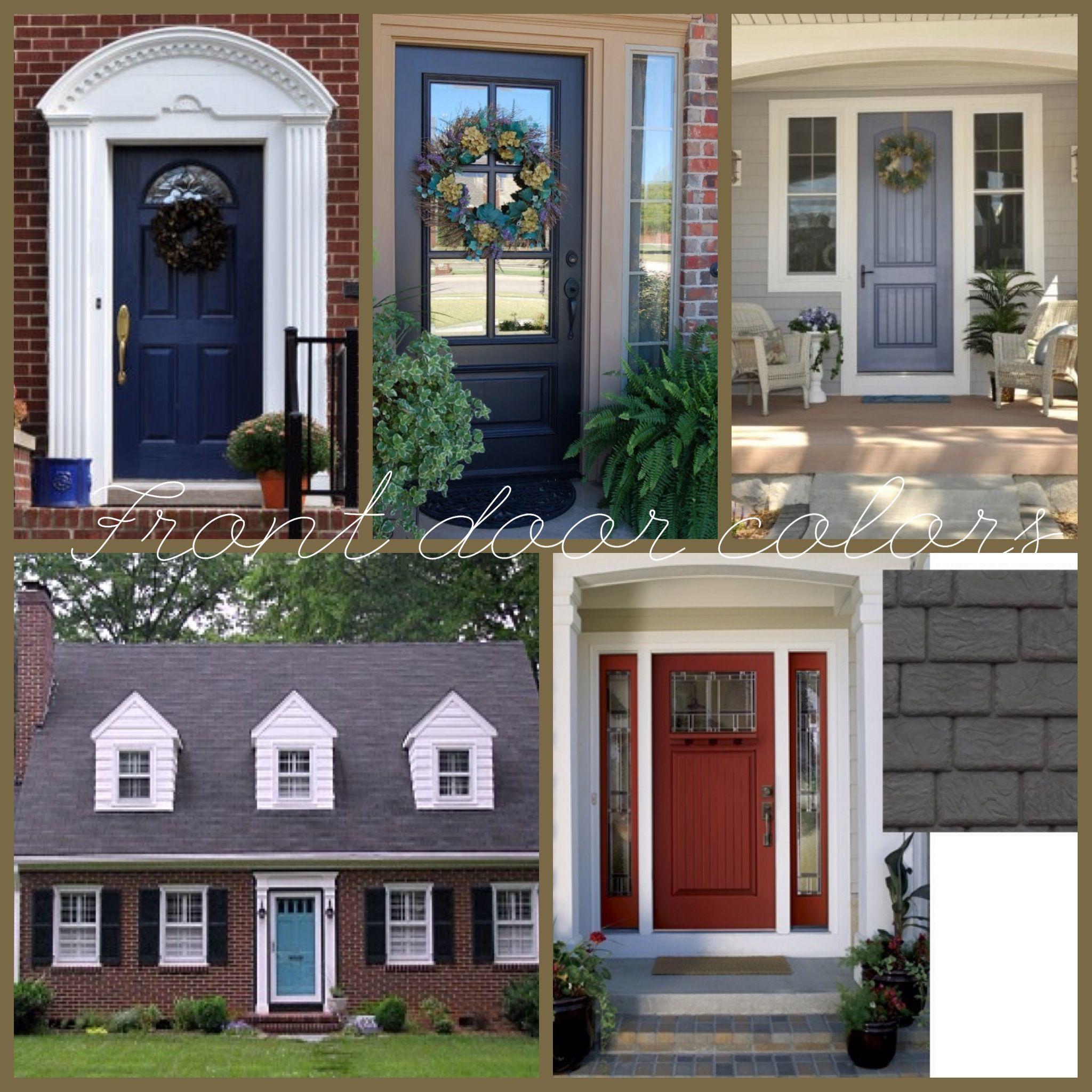 Red Brick House Black Shutters Color Door