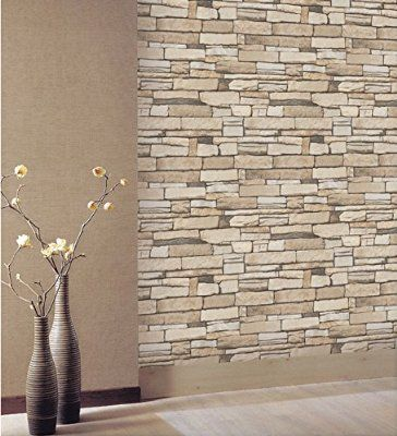 Natural Stacked Stone Brick Pattern Vinyl Contact Paper Self Adhesive Peel Stick Wallpaper