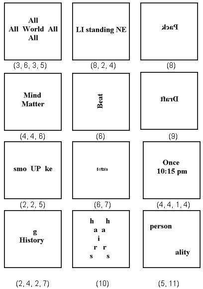 Visual word puzzles ideas