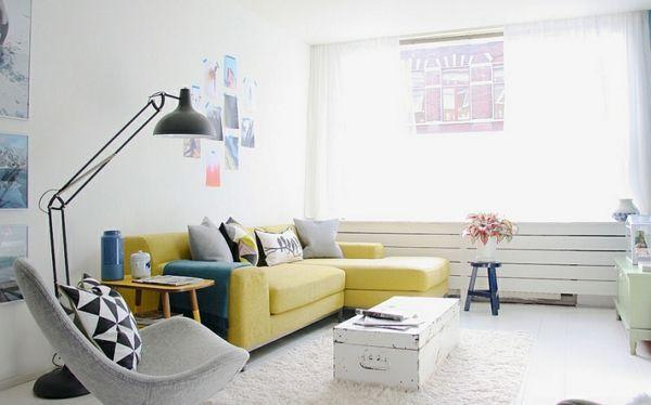 Wohnzimmer Farbgestaltung – Grau und Gelb - Wohnzimmer industriell ...