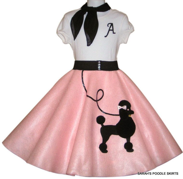 Custom Made To Order Girls 3pc Patty Poodle Skirt Outfit