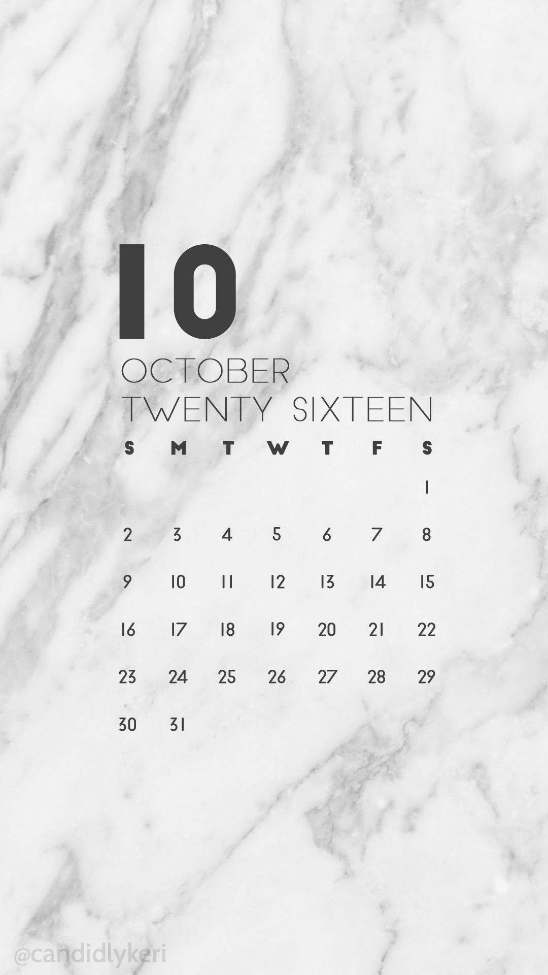 Marble Calendar Wallpaper November : Marble organized clean modern october calendar