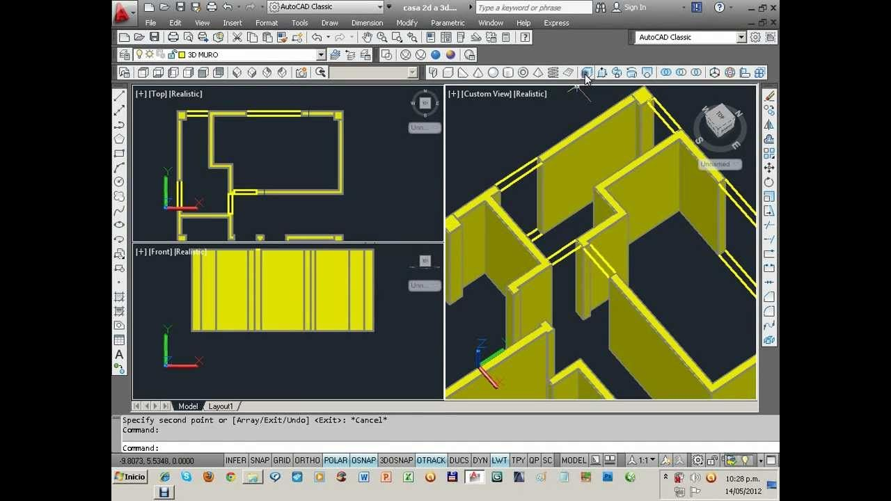 Videotutoriales De Modelado De Una Casa En Autocad 3d 1 De 2 Autocad Planos Autocad Programa Arquitectura
