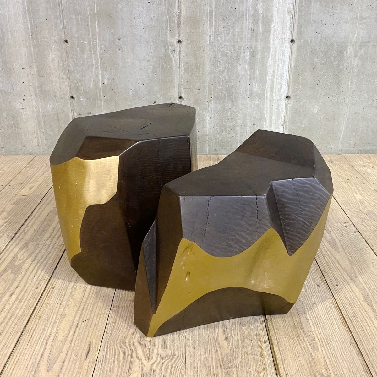 Two Piece Solid Wood Coffee Table With Faceted Gold Highlights Coffee Table Wood Coffee Table Solid Wood Coffee Table [ 1200 x 1200 Pixel ]