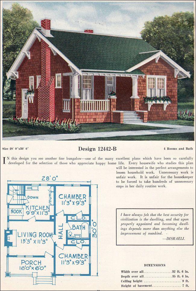 C 1922 C L Bowes Model 12442 B Vintage House Plans 1920s House Sims House