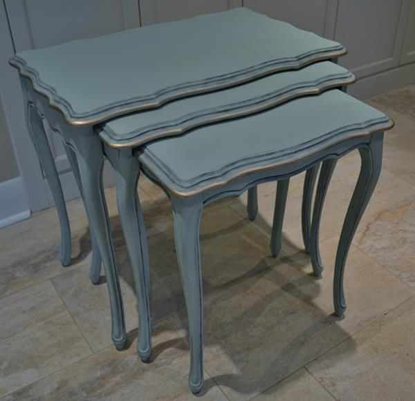 French Provincial nest of tables painted a mint green ...