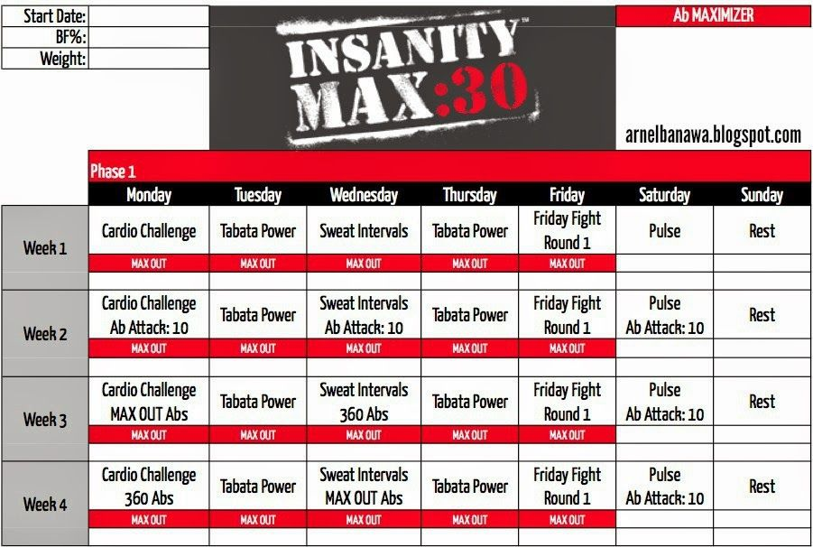 Insanity Max  Workout Calendar  Ab Maximizer  Beachbody