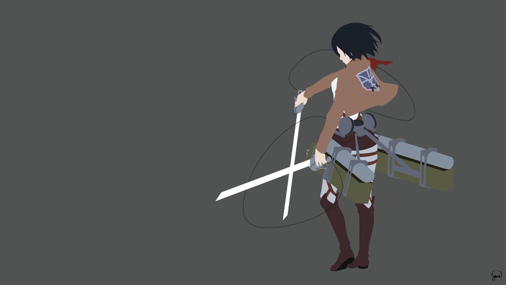 Mikasa Ackerman (Shingeki no Kyojin) Minimalism by greenmapple17.deviantart.com on @DeviantArt