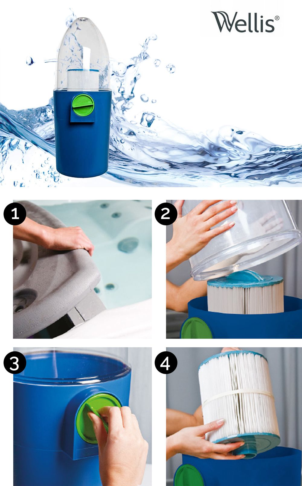 Automatyczna Myjka Filtrow Jacuzzi Basen Wellis Trash Can Trash