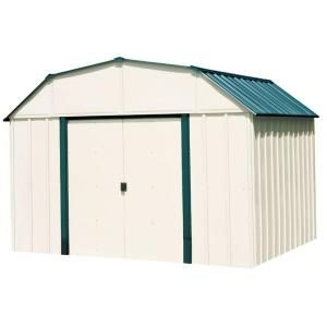 Arrow Sheridan 10 Ft W X 8 Ft D 2 Tone White And Green Galvanized Metal Barn Style Storage Shed Vs108 Steel Storage Sheds Shed Outdoor Storage Sheds