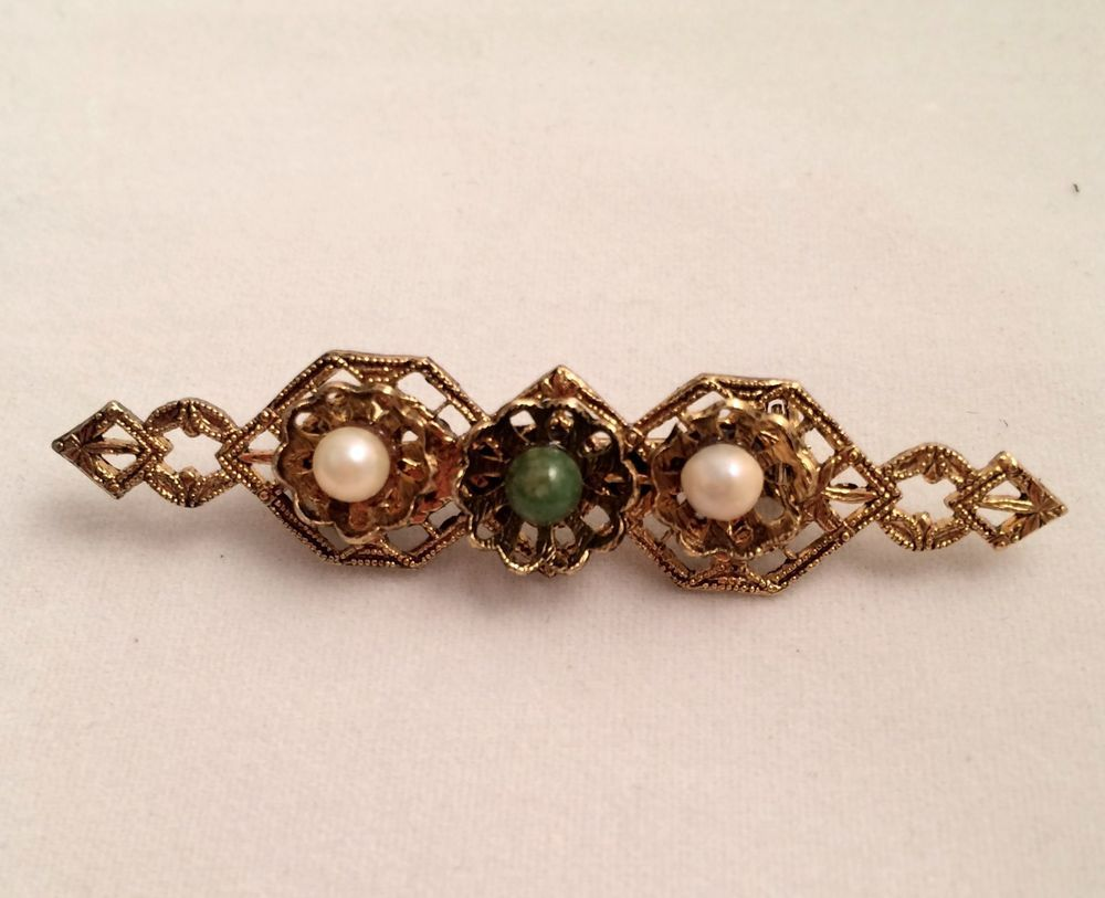 Vintage faux pearl and jade victorian style bar pin brooch